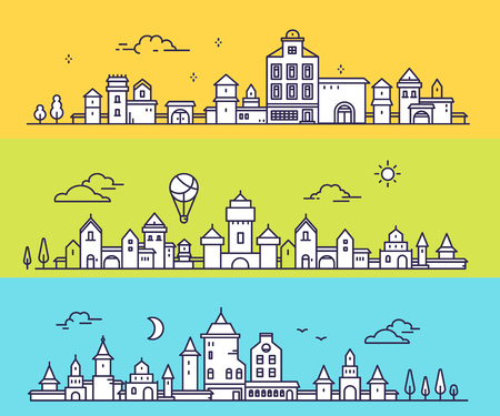 Vector illustration of three different city landscape on color background. Urban european city with tree, cloud, air balloon. Thin line art design for web, site, advertising, horizontal banner