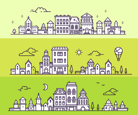 Day and night urban european city with tree, cloud, aerostat. Vector illustration of three variation detailed city landscape on green background. Thin line art design for web, site, advertising, horizontal banner Stock Vector - 87777211