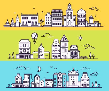 Vector illustration of three different city landscape on color background. Set of urban european city with tree, cloud, air balloon. Thin line art design for web, site, advertising, horizontal banner Stock Vector - 87776625