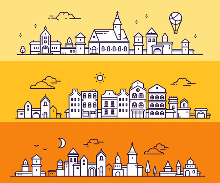 Vector illustration of three different summer city landscape on orange color background. Urban european white detailed city with tree, cloud, air balloon. Thin line art design for web, site, advertising, horizontal banner