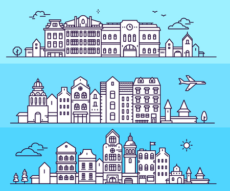 Three urban european city with tree, cloud, airplane. Vector illustration of variation detailed city landscape on blue background. Thin line art design for web, site, advertising, horizontal banner