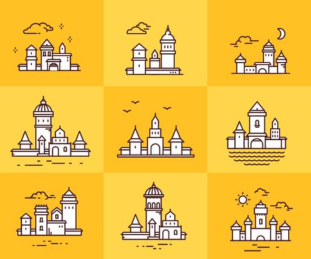 Collection de vecteur de structures urbaines sur fond jaune. Ensemble de bâtiments de la ville blanche de variation avec nuage, oiseaux, soleil, lune. Conception d'art en ligne mince pour le web, site, publicité, bannière Banque d'images - 87776631