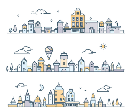 Urban european city with tree, cloud, air balloon. Vector illustration of three different city landscape on white background. Thin line art design for web, site, advertising, horizontal banner