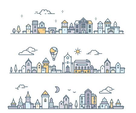 Set of urban european city with tree, cloud, aerostat. Vector illustration of three variation city landscape on white background.  Thin line art design for web, site, advertising, horizontal banner Ilustração