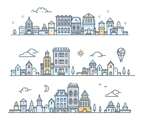 Day urban european city with tree, cloud, aerostat. Vector illustration of three variation detailed city landscape on white background. Thin line art design for web, site, advertising, horizontal banner