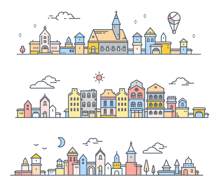Vector illustration of three different summer city landscape on white background. Urban european retro color detailed city with tree, cloud, air balloon. Thin line art design for web, site, advertising, horizontal banner Ilustração