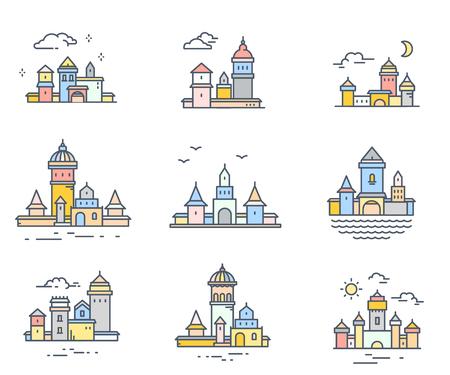 Collection de vecteur de structures urbaines de couleur rétro sur fond blanc. Ensemble de bâtiments de la ville de variation avec nuage, oiseaux, soleil, lune. Conception de fine ligne d'art pour le web, site, publicité, bannière Banque d'images - 87776663