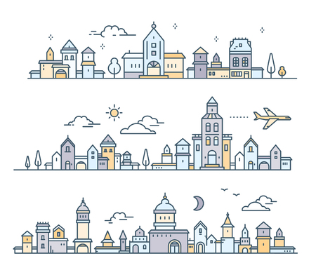 Day urban european white city with tree, cloud, air plane. Vector illustration of three different city landscape on white background. Thin line art design for web, site, advertising, horizontal banner