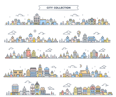 Vector illustration of different summer city landscape on white background. Set of urban european retro color detailed city with tree, cloud, air balloon. Thin line art design for web, site, advertising, horizontal banner