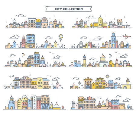Big vector set of urban european color detailed city with tree, cloud, air plane. Illustration of different summer city landscape on white background. Thin line art design for web, site, advertising, horizontal banner