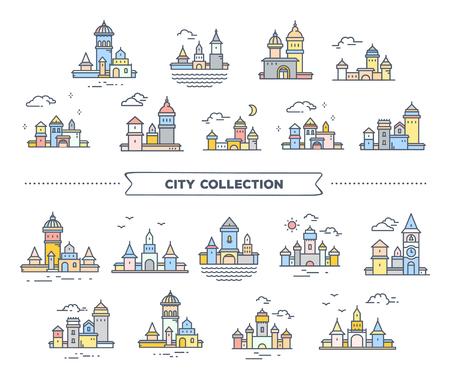Ensemble grand vecteur de bâtiments détaillés de couleur orientale urbaine avec des nuages. Illustration de différents paysages de la ville d'été sur fond blanc. Conception d'art en ligne mince pour le web, site, publicité, bannière horizontale Banque d'images - 87776672