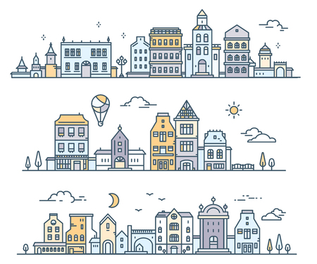 Set of urban european city with tree, cloud, air balloon. Vector illustration of three different city landscape on white background. Thin line art design for web, site, advertising, horizontal banner Illustration