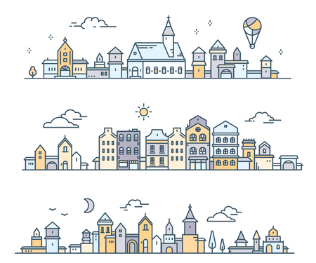 Urban european white detailed city with tree, cloud, air balloon. Vector illustration of three different summer city landscape on white background. Thin line art design for web, site, advertising, horizontal banner