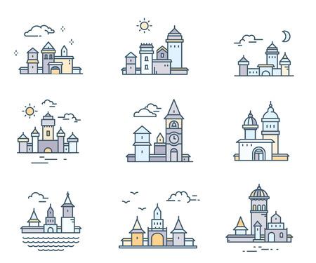 Ensemble d'icônes de bâtiments de ville couleur rétro avec des nuages. Collection de vecteur de construction urbaine sur fond blanc. Conception d'art en ligne mince pour le web, site, publicité, bannière Banque d'images - 87776681