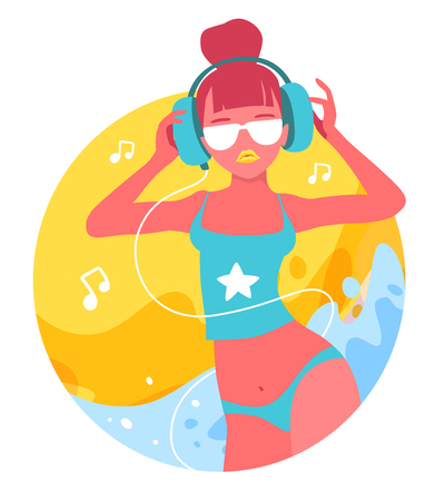 Vector creative illustration of close up fashion tanned girl in a swimsuit and with headphones on white background with yellow sand and blue sea waves. Flat style beach party design for poster, banner, advertising Illustration