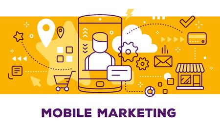 男アバターとアイコンをもつ携帯電話のベクター イラストです。タイトルの背景が黄色のモバイル マーケティングの概念。