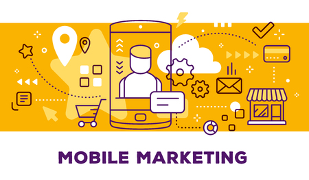 Vector illustration of mobile phone with man avatar and icons. Mobile marketing concept on yellow background with title.