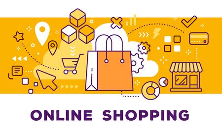 Ilustración de vector de bolso de compras, tienda e iconos. Concepto de compra en línea sobre fondo amarillo con título.