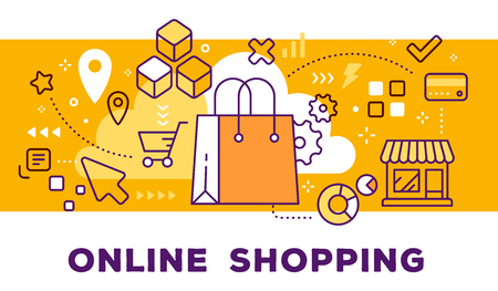 Vector illustration of shopping hand bag, store and icons. Online shopping concept on yellow background with title. Stock Illustratie