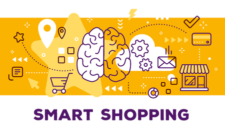 Vector illustration of human brain, store and icons. Smart shopping concept on yellow background with title.