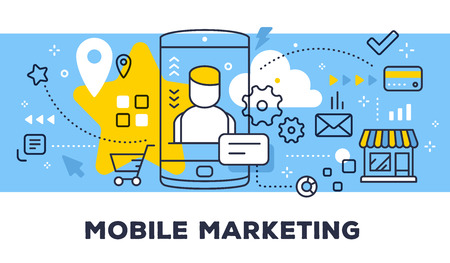 Mobile marketing concept on blue background with title.