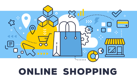 Online shopping concept on blue background with title. Stock Illustratie