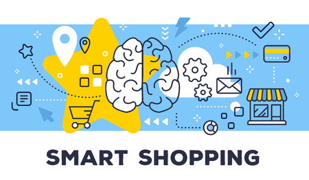 Smart shopping concept on blue background with title.