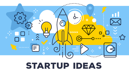 Startup ideas concept on blue background with title.