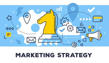 Marketing strategie concept op blauwe achtergrond met titel.