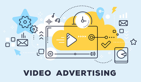 Vector illustration of video player and icons. Video advertising concept on blue background with title.