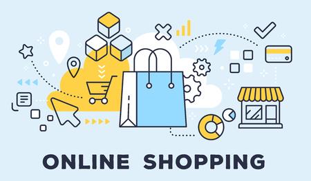 Vektorillustration von Einkaufshandtasche, -speicher und -ikonen. Online-Shopping-Konzept auf blauem Hintergrund mit Titel. Vektorgrafik