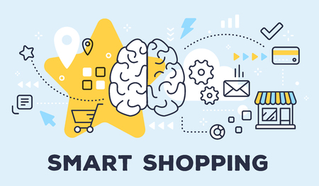 Vector illustration of human brain, store and icons. Smart shopping concept on blue background with title.