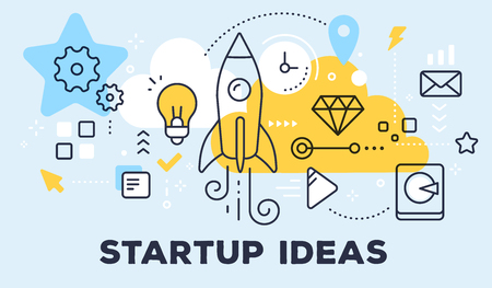Vector illustration of rocket, light bulb, cloud and icons. Startup ideas concept on blue background with title.