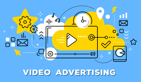 Vector illustration of video player, yellow cloud and icons. Video advertising concept on blue background with title. Illustration