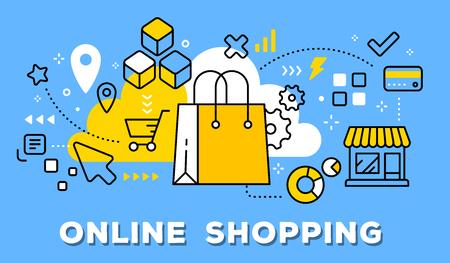 Ilustración de vector de bolso de compras amarillo, tienda e iconos. Concepto de compras en línea sobre fondo azul con título. Ilustración de vector