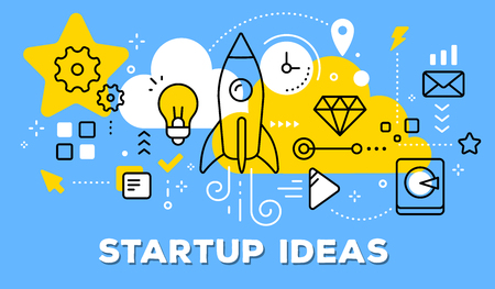 Vector illustration of rocket, light bulb, yellow cloud and icons. Startup ideas concept on blue background with title.