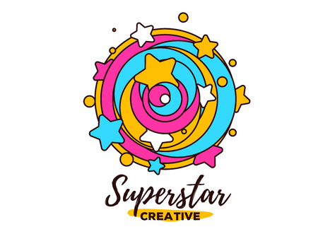 Vector illustration of abstract colorful twirled shape with star and text. Superstar concept on white background. Illustration