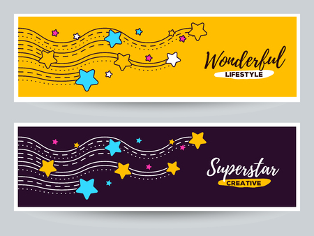 Vector business template with star illustration. Line wave with star on color background. Lovely star concept. Thin line art design of star for web, site, banner, print, card Ilustrace
