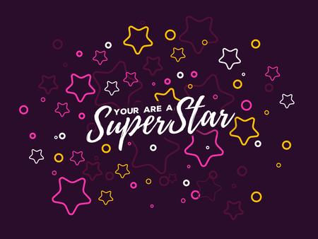 Ilustración de vector con estrella y texto. Concepto de superestrella sobre fondo oscuro. Diseño de arte de línea delgada con estrella para web, sitio, banner, portada, impresión, tarjeta Foto de archivo - 88905937