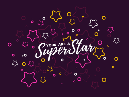Vector illustration with star and text. Superstar concept on dark background. Thin line art design with star for web, site, banner, cover, print, card 向量圖像