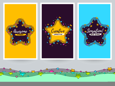 Vector template with illustration of big star with a wave along the edge and text. Beautiful superstar concept on color background. Thin line art design of star for web, site, banner, poster, cover, print, card Illustration