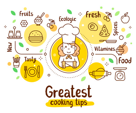 Illustration of chef with food icons.
