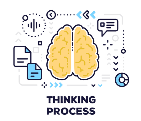 Thinking concept with human brain and text on white background. Vector illustration of brain with scheme and icons. Illustration