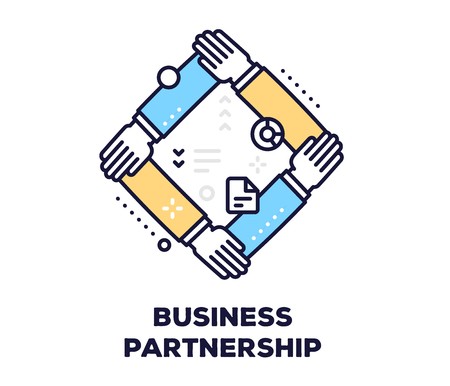 Business partnership concept on white background with title. Vector illustration of connected hands together.