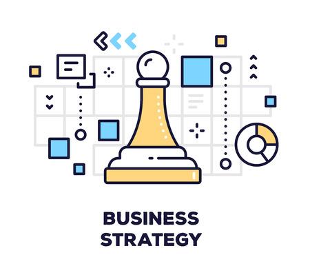 제목 가진 흰색 배경에 비즈니스 전략 개념입니다. 체스 조각 전당포 아이콘으로 벡터 일러스트 레이 션. 일러스트
