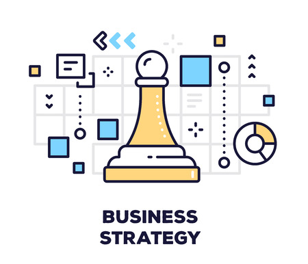 Business strategy concept on white background with title. Vector illustration of chess piece pawn with icons. Illustration