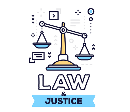 Law and justice concept on white background with title. Vector illustration of big justice scales with icons.