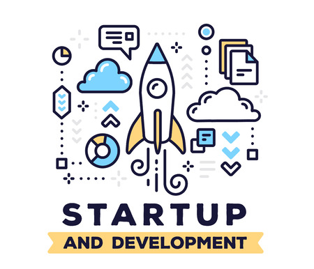 Startup and development concept on white background with title. Vector illustration of flying up space rocket with clouds and icons.