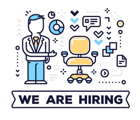 Job vacancy concept on white background with title. Vector illustration of a man head hunter and empty office armchair with icons. Иллюстрация