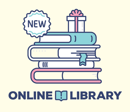 Online library concept on light background with title. Vector illustration of big color stack of books with gift box and label.